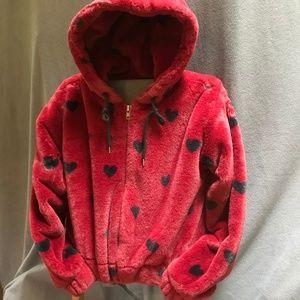 Plush hooded bomber jacket